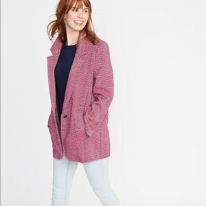 NWT Old Navy Oversized Herringbone Tweed Coat Pink